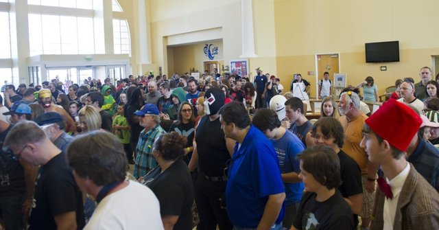 Treasure Coast Comic Con attendees enter the inaugural event Saturday morning at the Port St. Lucie Civic Center. (CHRISTOPHER ARNOLD/TREASURE COAST NEWSPAPERS)