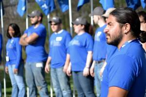 Edwin S. Vasco Gonzalez, first Miami service platoon leader for Mission Continues, listens to a speech at an event earlier this year.