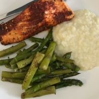 Blackened salmon, asparagus and cauliflower mash